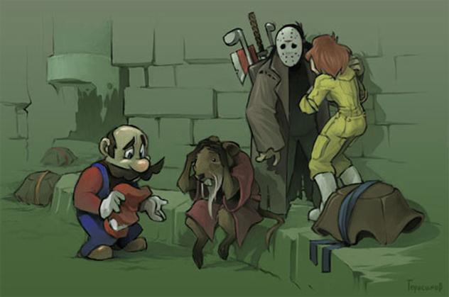 Oh no, Mario acabo con las Tortugas Ninja